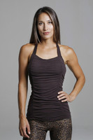 Brown Ruched Yoga Tank Top front view