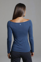 Wide Neck Layering Long Sleeve Top in Blue