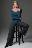 V-Neck Long Sleeve and Wide Leg Pant Yoga Outfit