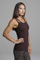 Brown Yoga Top with Built-in Shelf Bra
