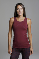Goddess Yoga Tank(Bordeaux) front thick straps ruched side yoga top