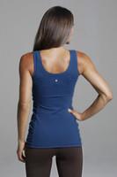 Scoop Back Compressive Form Flattering Blue  Yoga Tank