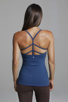 Strappy Back Yoga Tank Top in Blue