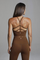 Criss Cross Back Crop Top in Light Brown Bronze