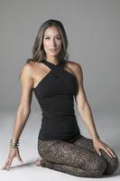 Elegant Yoga Outfit Black Halter and Flirt Leggings
