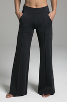 Black Wide Leg Activewear Bottoms with Pockets front view
