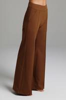 High Waist Loose Fitting Dark Beige Brown Pants