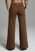 Elegant Wide Leg Brown Yoga Pants back view