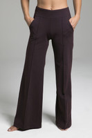 Fall Brown Wide Leg Yoga Bottoms with Pockets