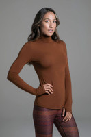 Grace Yoga Turtleneck (Bronze) side long sleeve yoga top