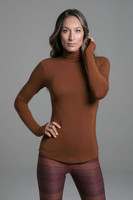 Grace Yoga Turtleneck (Bronze) front high neck design