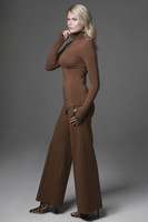 Perfect Wide Leg Pant & Grace Yoga Turtleneck in Bronze