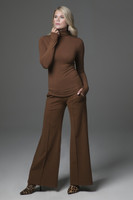 Perfect Wide Leg Pant & Grace Yoga Turtleneck in Bronze front