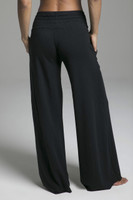 French Terry Black Loungewear Bottoms back view