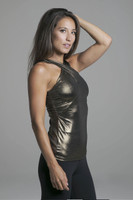 High Neck Supportive Yoga Halter in Gold side view