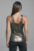 Long Yoga Top for Large Busts in Shiny Gold back view