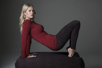 Ballet Ruched Sleeve Crimson Top and Print Legging Outfit