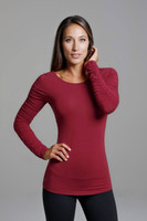 Ballet Ruched Sleeve Yoga Top in Crimson Red