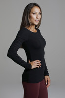 Ruched Black Long Sleeve Yoga Shirt