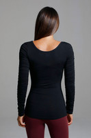 Scoop Neckline Black Long Sleeve Shirt back view