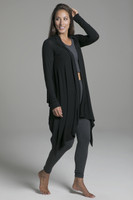 Cozy Draping Lightweight Black Cardigan