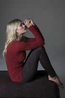 Red Longs Sleeve and Print Legging Yoga Outfit