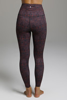Form Flattering Dark Red Pattern Yoga Tight back view