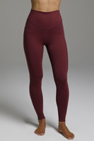 High Waisted Compressive Yoga Tights in Wine Red front view