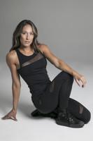 Black Rendezvous Yoga Tank Top Sitting Lifestyle Shot
