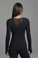 Mesh Long Sleeve Top in Black Back View