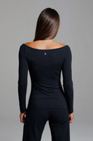 Ruched V-Neck Long Sleeve (in Black) back view