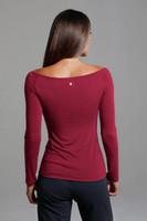 Ruched V-Neck Long Sleeve in Crimson back view