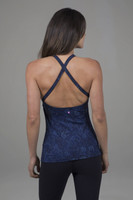 navy paisley inversion yoga halter with open back