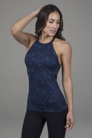 Grace Yoga Halter Navy Paisley Front View