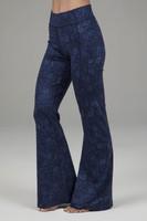 Navy Paisley Flared Bootcut Yoga Pants Side