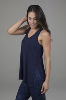 yoga tank with side splits in marine navy