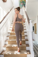ribbed seamless yoga legging in taupe