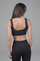 Scoop back yoga bra in black
