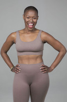 Ribbed Seamless Activewear in Taupe
