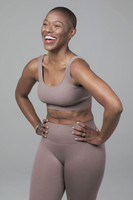 Ribbed Seamless Yoga Bra in Taupe