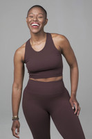 High Neck Yoga Crop Top in Cocoa