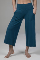 kiragrace cozy boho crop yoga pant - moroccan blue