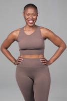 supportive yoga bra in tan color