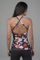 Cross-Back Open-Back Long Yoga Tank Top flower print