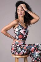 Floral print tank and legging yoga set