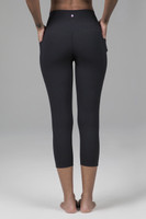 Compressive High Waist Crop Yoga Pants in Black
