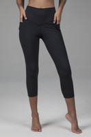 Black High Rise Crop Leggings with Pockets
