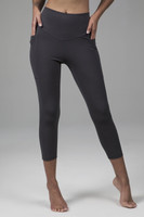 High Rise Crop Yoga Tights with Pockets in Gray