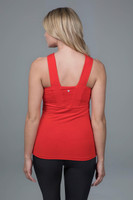 bright red yoga top