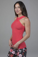 High Neck Supportive Yoga Tank in Coral
